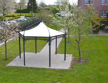 ganzjahres metall pavillon antica roma sechseckig im garten der seniorenresidenz kloster till. Black Bedroom Furniture Sets. Home Design Ideas